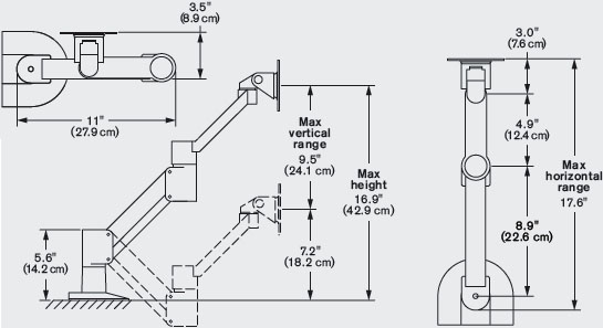 Technical Drawing for Innovative 3545 Short Reach Monitor Arm with Fixed 45° Forearm