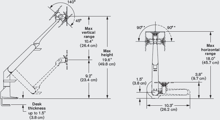 Technical Drawing for Innovative 5900 EVO Articulating Monitor Arm