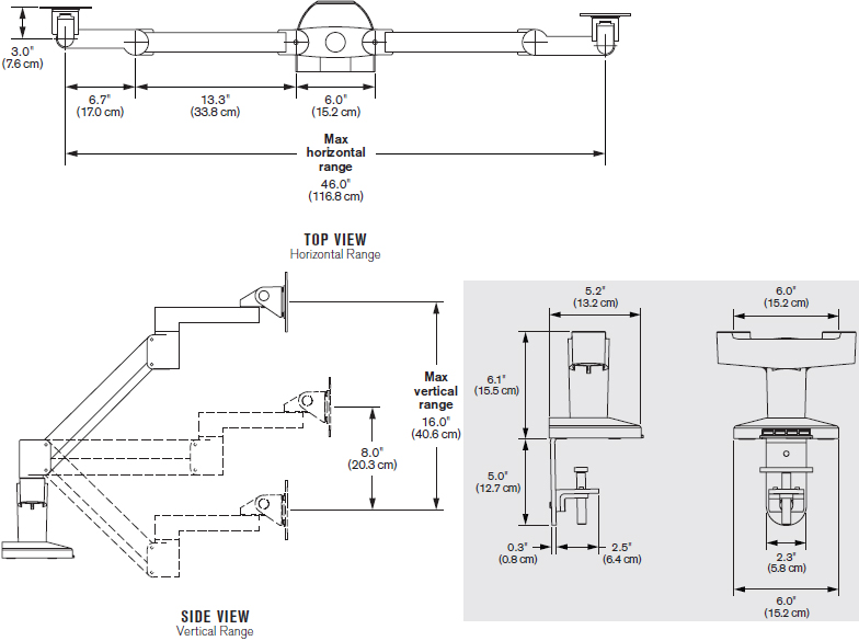Technical Drawing for Innovative 7000-Busby-8408 Dual Mount with Integrated USB Hub