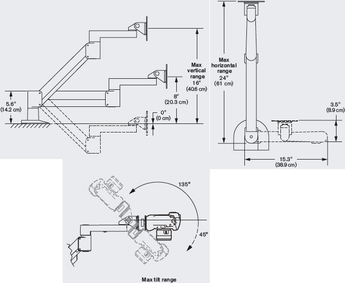 Technical Drawing for Long Reach Camera Arm - ErgoDirect EDC-1201C