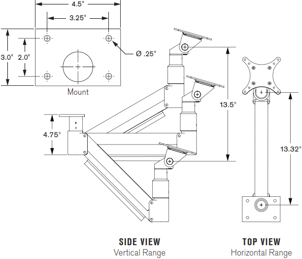Technical Drawing for Innovative 7020 Long Reach Under Cabinet/Table Monitor Mount Arm