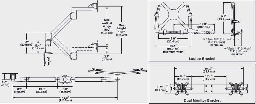Technical Drawing for Innovative 7050-Switch Height Adjustable Dual LCD & Tablet Mount
