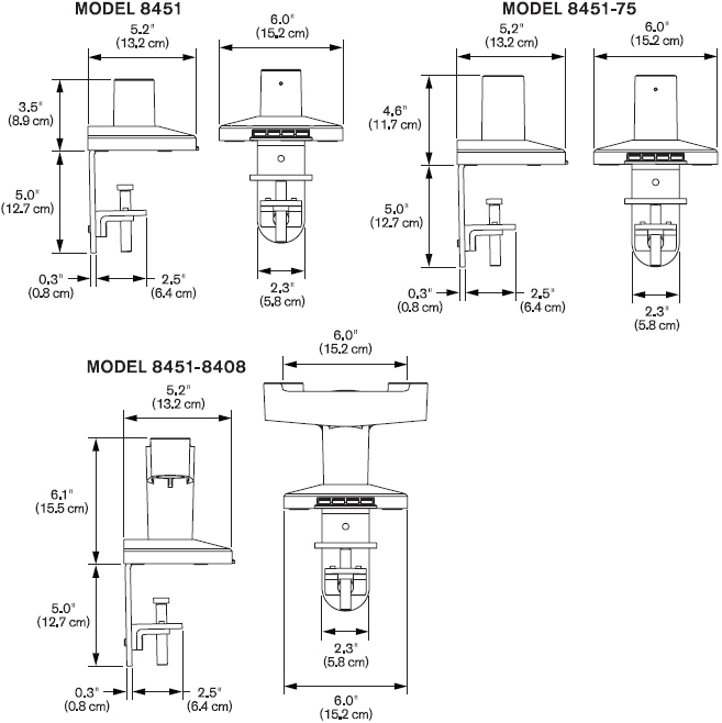 Technical Drawing for Innovative 8451 Busby Mount Cup with Base