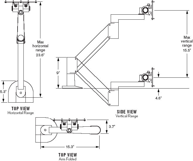 Technical Drawing for Innovative 9105-XHD Extra Heavy Duty (69.1 lb) LCD Monitor Arm