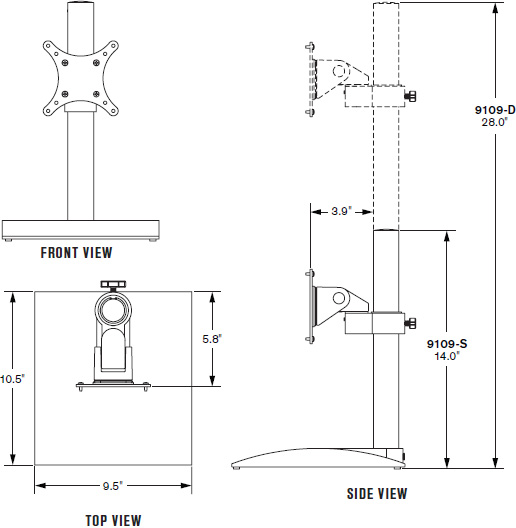 Technical drawing for Innovative 9109-D-28 Dual Monitor Desk Stand with Pivot and Tilt