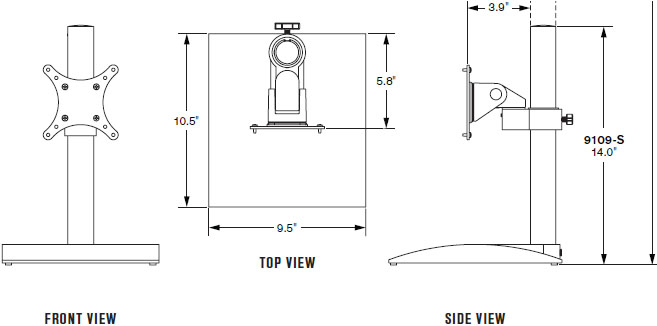 Technical Drawing for Innovative 9109-S-14 LCD Desk Stand (14