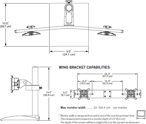 Technical Drawing for Innovative 9109-Switch Freestanding Dual Monitor Stand - 14