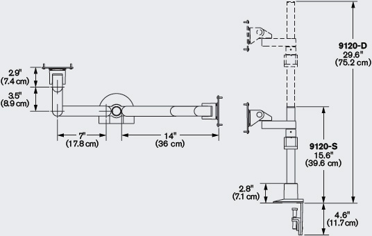 Technical Drawing for Innovative 9120-D-28 Two-Tier Quad Monitor Arm with 28