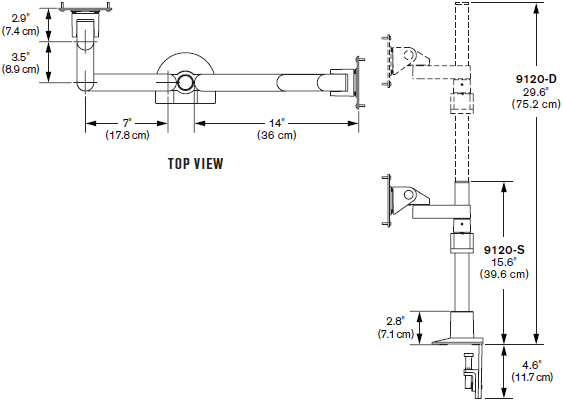 Technical Drawing for Innovative 9120-S-14 Side-by-Side Dual Monitor Mount - 14