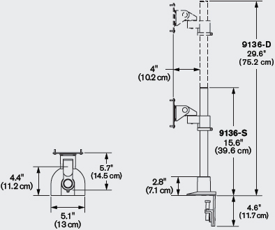 Technical Drawing for Innovative 9136-S-14 Adjustable Monitor Pole Mount - 14
