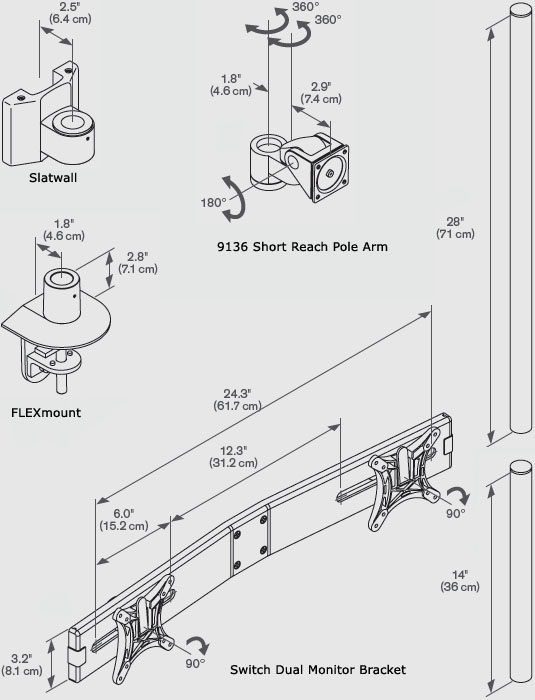 Technical Drawing for Innovative 9136-SWITCH-D-28 Two-Tier Dual LCD Mount (28