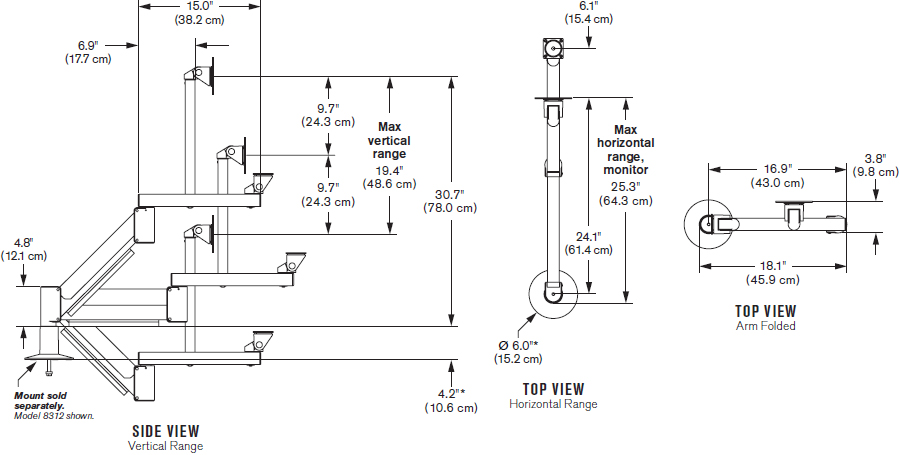 Technical Drawing for Innovative 9139 Heavy-duty Data Entry Monitor Arm - Up to 53 lbs