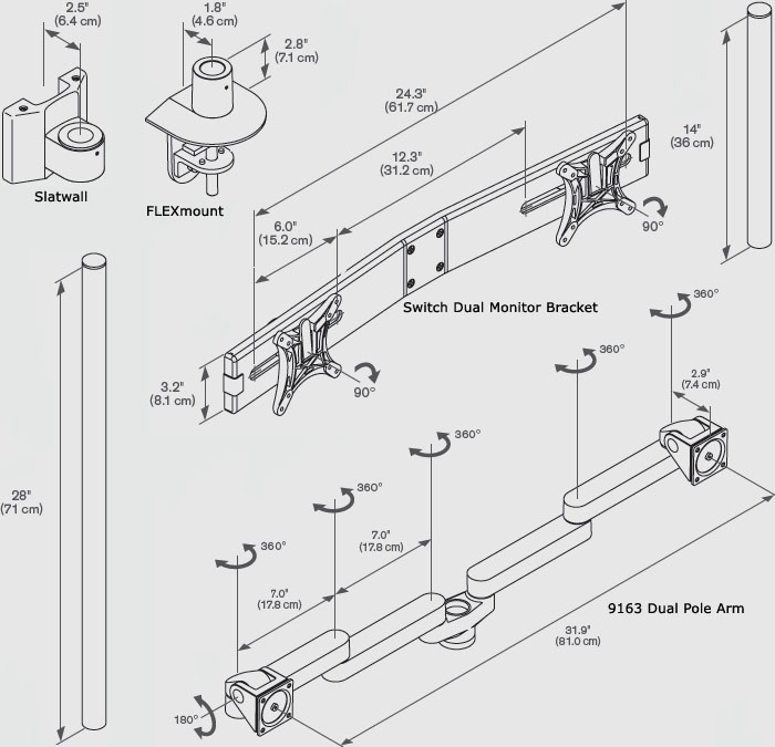 Technical Drawing for Innovative 9163-SWITCH-D-28 Two-Tier Triple LCD Arm (28