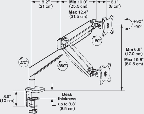 Technical Drawing for Innovative ENVOY-1 Envoy Articulating Monitor Arm