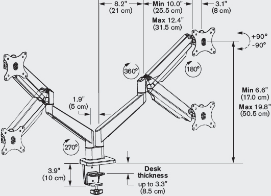 Technical Drawing for Innovative ENVOY-2 Envoy Dual Monitor Articulating Arm