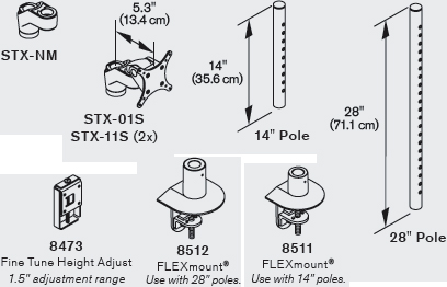 Technical Drawing for Innovative STX-01S Staxx Single Monitor Mount