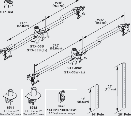 Technical Drawing for Innovative STX-03W - Staxx Triple Monitor Mount - Wide