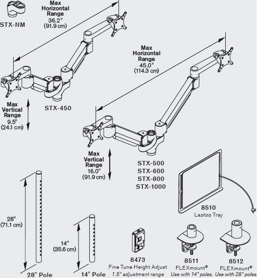 Technical Drawing for Innovative STX-600-8510 Staxx Articulating Monitor & Laptop Mount