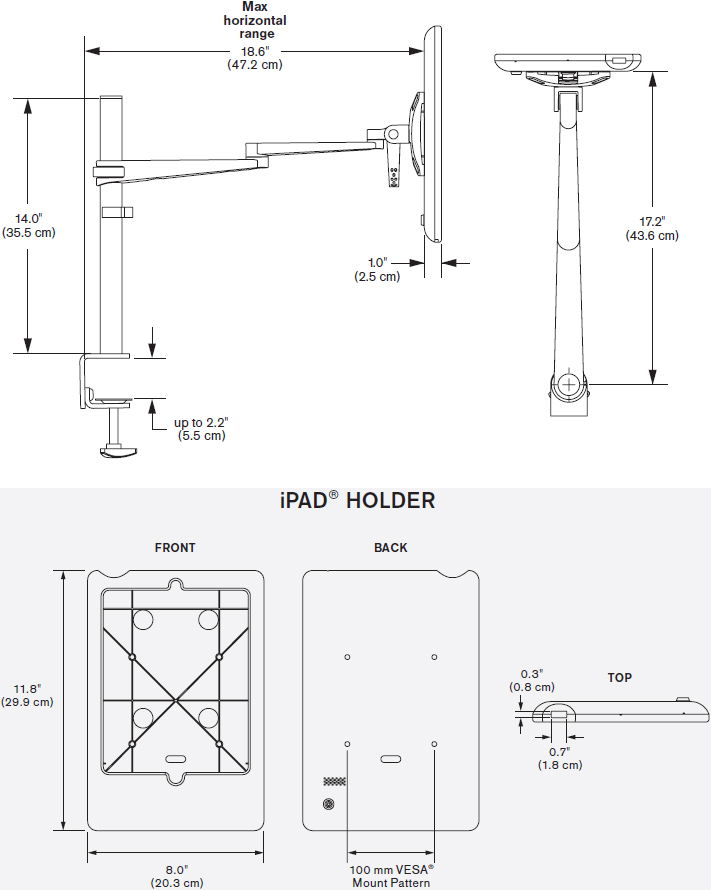 Technical Drawing for Innovative 5800-8438 EVO Pole Arm with Secure iPad Holder