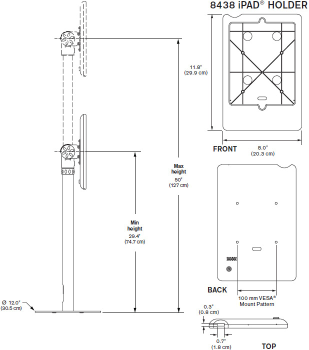 Technical Drawing for Innovative 9230-8438 Free Standing iPad Mount