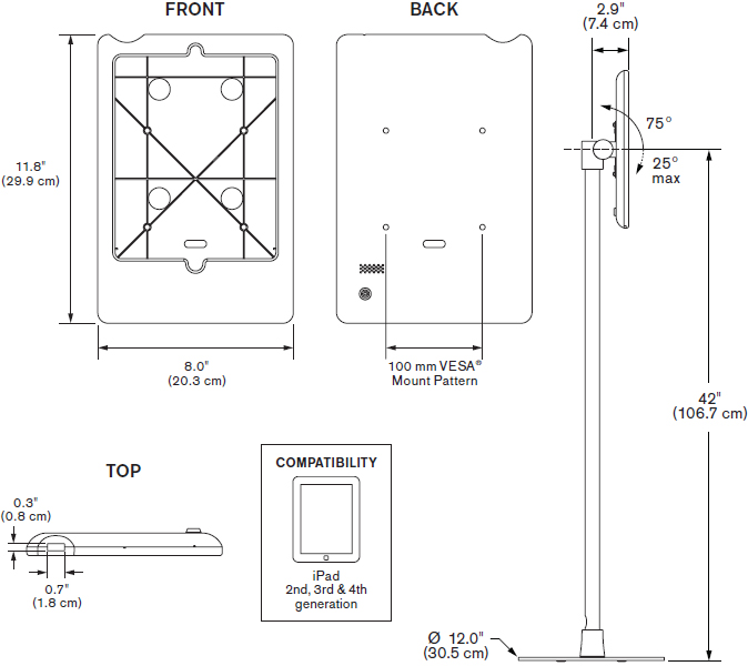 Technical Drawing for Innovative 9231-8438 Light Duty Free Standing iPad Mount