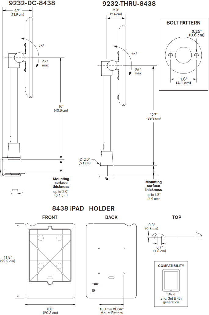 Technical Drawing for Innovative 9232-14-8438 Light Duty iPad Pole Mount