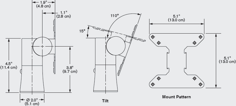 Technical Drawing for Innovative 9236 iPad or Tablet POS Mount