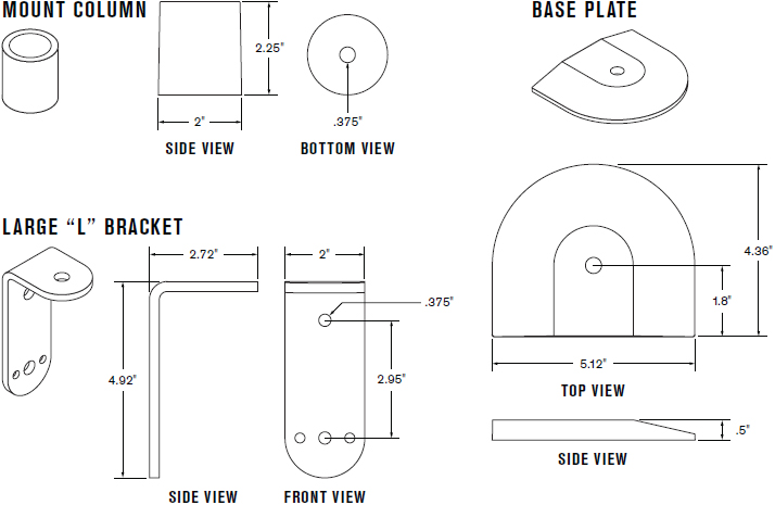Technical Drawing for Innovative 8111 Flexmount Mount