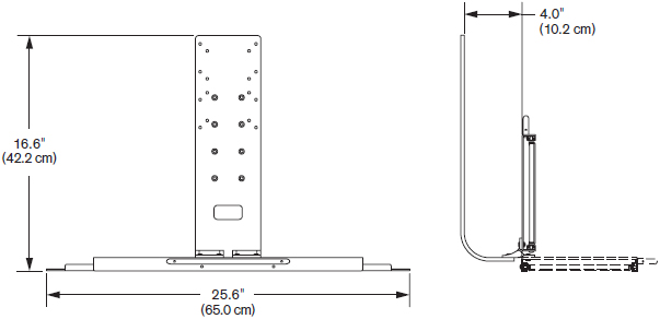 Technical drawing for Innovative 8209 Flip-Up Keyboard Tray