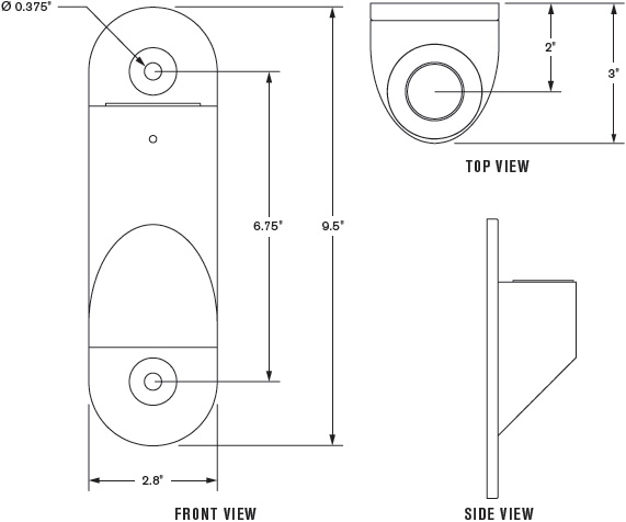 Technical Drawing for Innovative 8325 Heavy-Duty Large Wall Mount