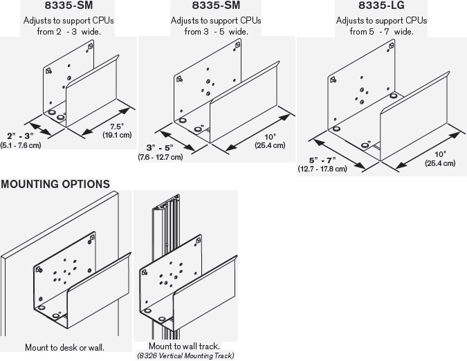 Technical Drawing for Innovative 8335-SM or 8335-MD or 8335-LG Vertical CPU Holder