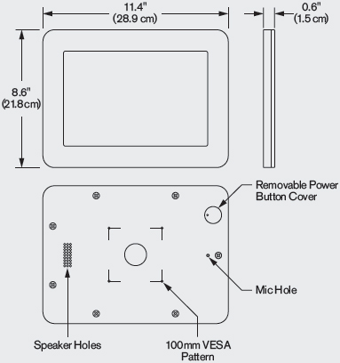 Technical Drawing for Innovative 62956-AIR iPad Air 1, Air 2, Pro 9.7 VESA Tablet Enclosure