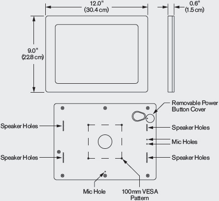 Technical Drawing for Innovative 62956-IPRO110-BLK iPad Pro 11 VESA Tablet Enclosure