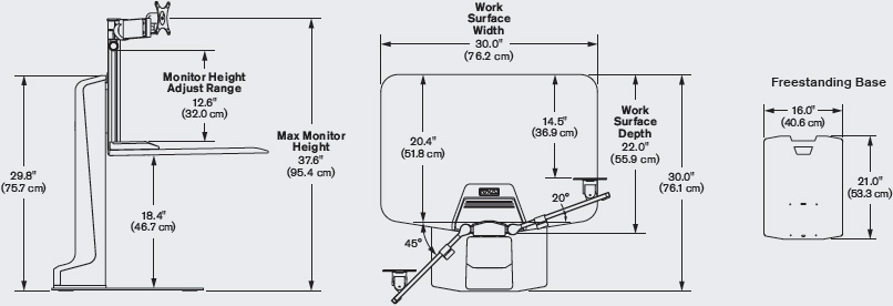 Technical drawing for Innovative WNSTE-1 Winston-E Single Monitor Sit-Stand Workstation