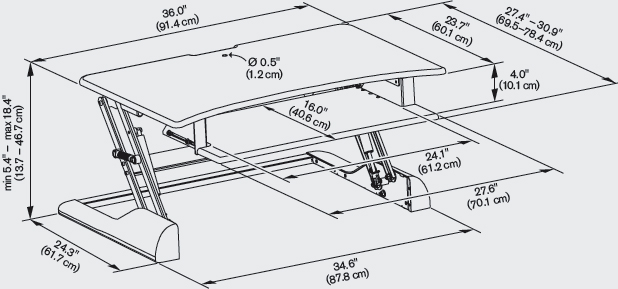Technical Drawing for Innovative WNST-DESK-36 Winston Desk Sit-Stand Workstation