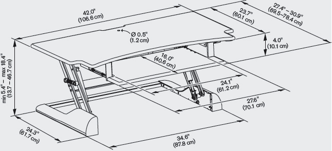 Technical Drawing for Innovative WNST-DESK-42 Winston Desk 42