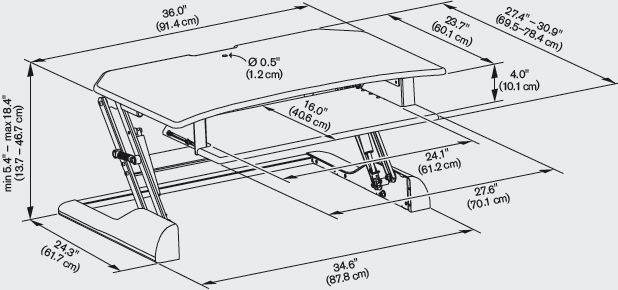Technical Drawing for Innovative WNST-DESKCR-36 Winston Desk Corner 36
