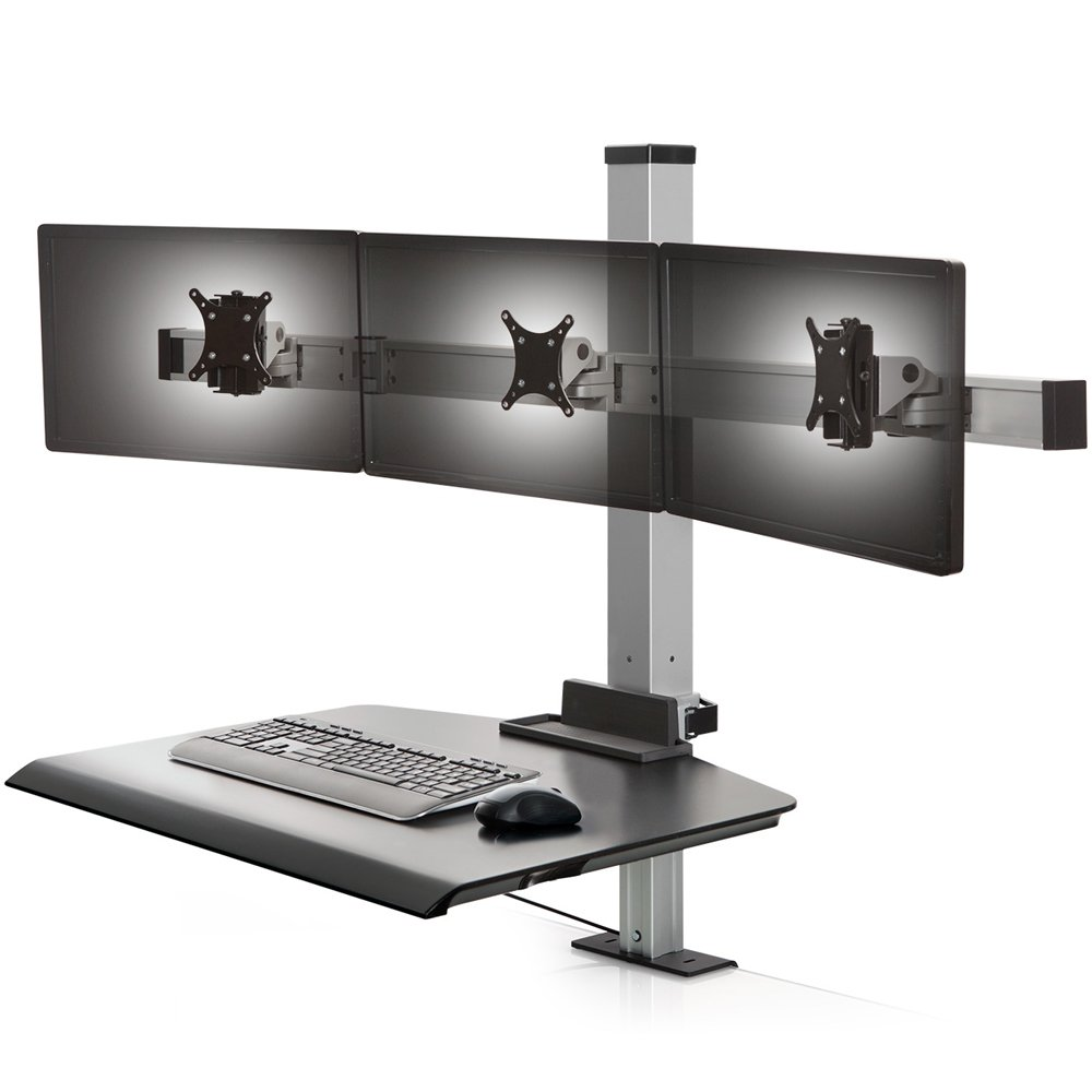 Winston Triple Monitor Mount Freestanding Sit Stand Workstation