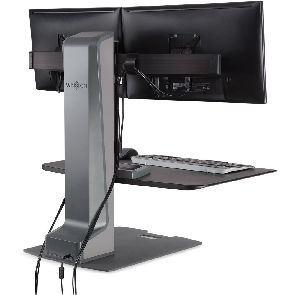 dual monitor sitstand workstation cable management