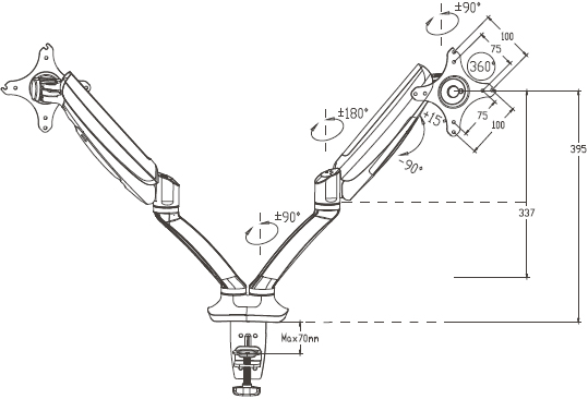 Technical drawing for Loctek Dual Arm Monitor Mount Gas Spring - D5D