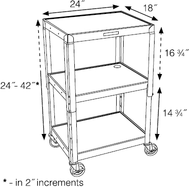 Technical drawing for Luxor AVJ42 Height Adjustable A/V Steel Cart - Three Shelves