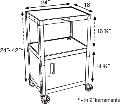 Technical drawing for Luxor AVJ42C Height Adjustable A/V Steel Cart with Cabinet