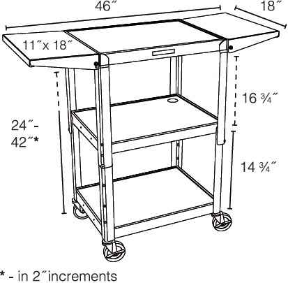 Technical drawing for Luxor AVJ42DL Height Adjustable A/V Steel Cart with Drop Leaf