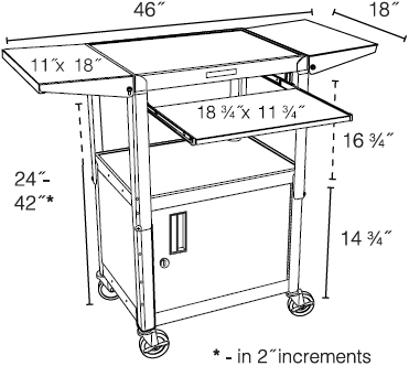 Technical drawing for Luxor AVJ42KBCDL Adjustable Steel Cart w/ Cabinet, KB Tray & Drop Leaf