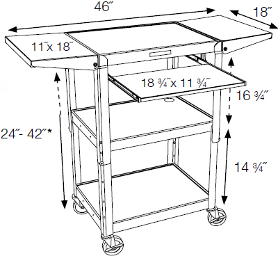 Technical Drawing for Luxor AVJ42KBDL Adjustable Height Metal Cart with Pull out Keyboard Tray