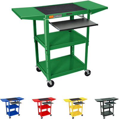 Luxor AVJ42KBDL Adjustable Height Metal Cart with Pull out Keyboard Tray