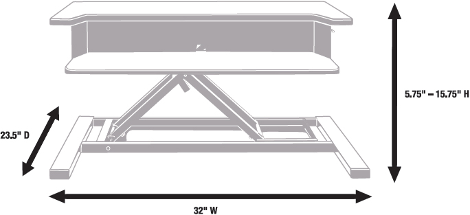 Technical Drawing for Luxor LVLUP PRO32-WO Level Up 32 Pro Standing Desk Converter