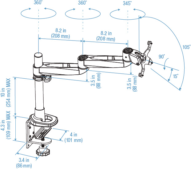 Technical drawing for 3M MA140MB Mechanical Adjust Desk-Mounted Single Monitor Arm