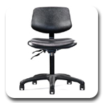 Neutral Posture Graphite Urethane Task, Stool, Lab, Industrial, Healthcare, Cleanroom Chair