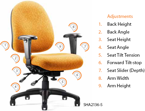 Neutral Posture Shark Ergonomic Task Office Chair